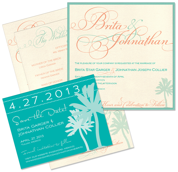 Brita + John's Palm Save the Date and Bella Wedding Invitation and Program