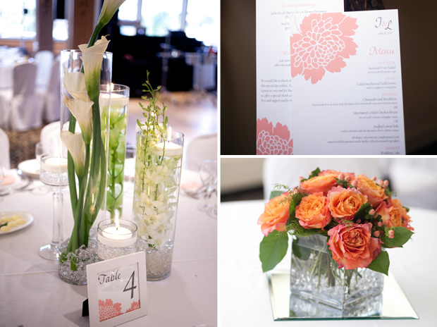 Laura and Jason's white and coral reception decor, including TGK wedding day stationery. Photos by Jayd Gardina.