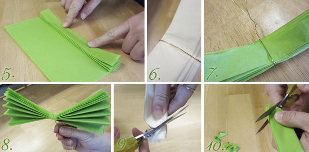 tissue paper flowers - cutting and tying