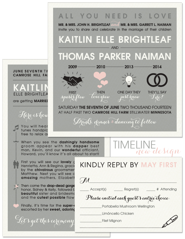 Timeline Wedding Invitation, Reply Card and Program
