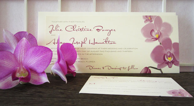 tropical orchid wedding invite  |  berry, smoke, champagne, shimmer