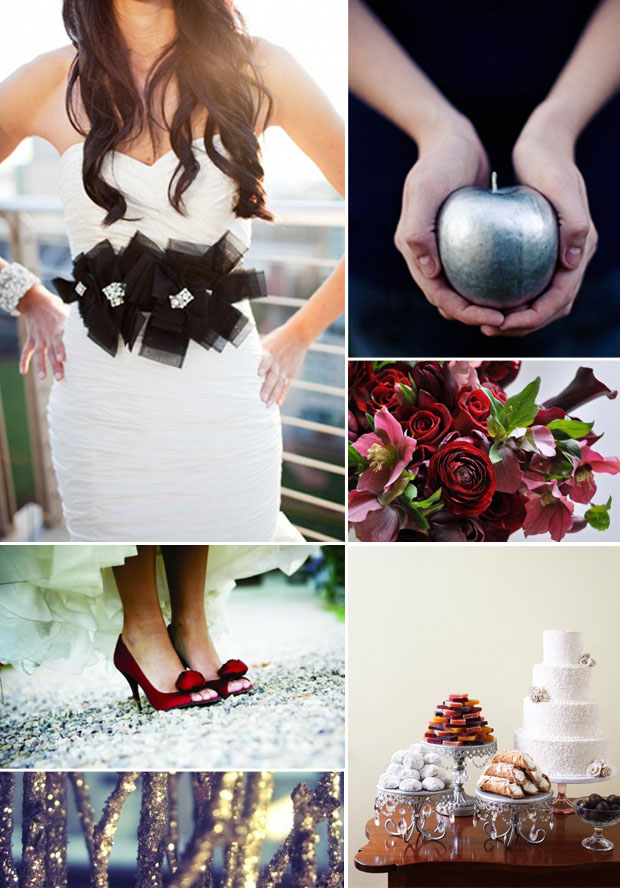 twilight movie wedding inspiration board, black and white, red, plum