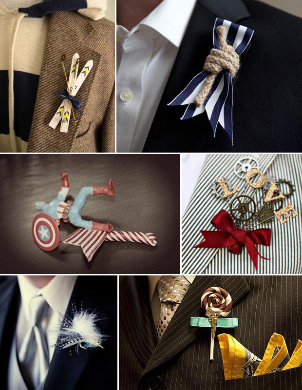 groom trends: unique boutonnieres