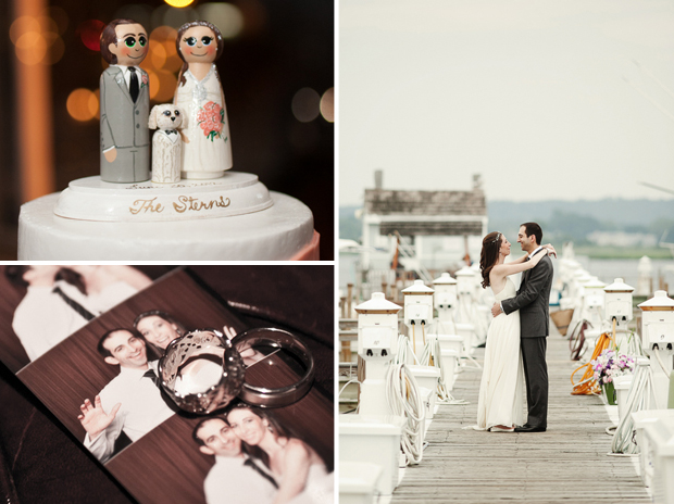 A custom cake topper, photo booth strip of L+J, and dockside portrait. Photos by Jayd Gardina.