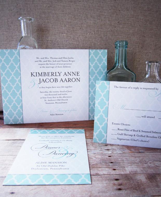 uptown chic wedding invite in umber + seafoam inks