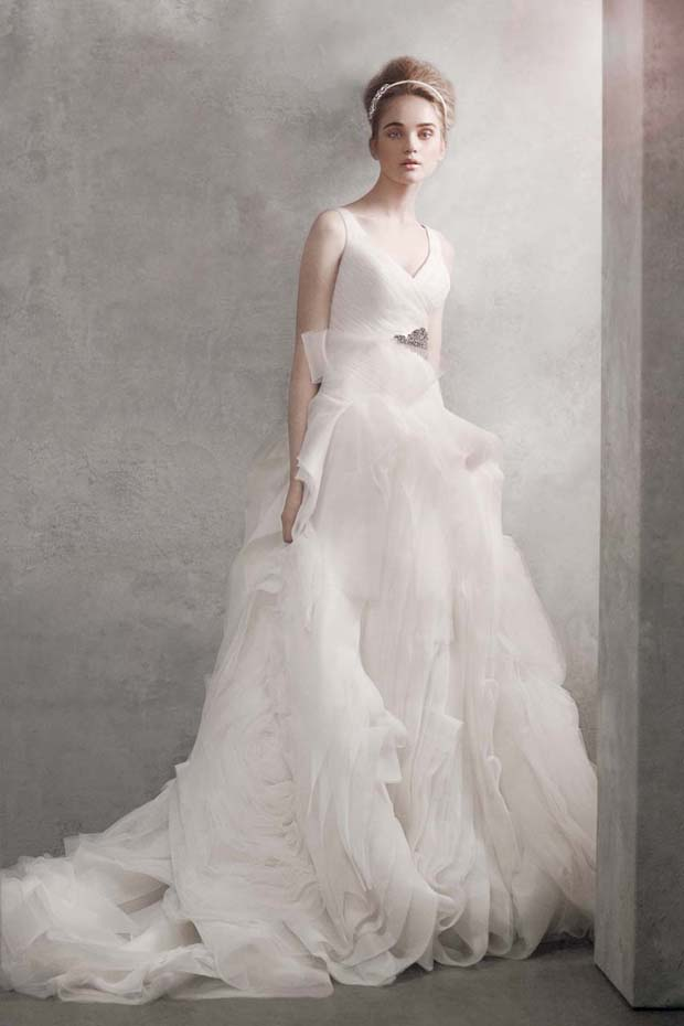 wedding gowns under $1000: vera wang white v-neck ballgown