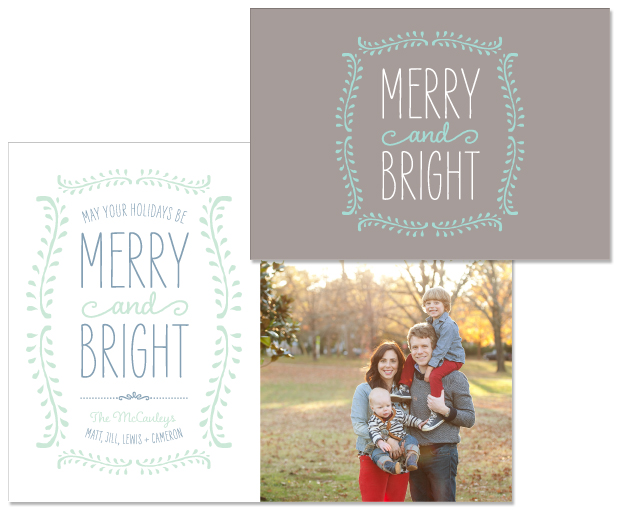 Vine folding holiday note card; Vine photo holiday card