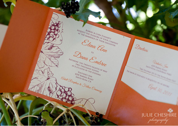 vineyard wedding stationery design