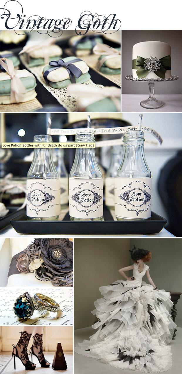 style: vintage goth wedding inspiration board