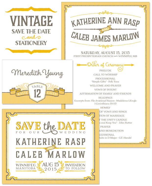 Vintage Save the Date, Program and Place Card