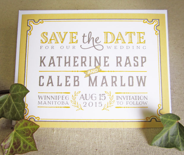 vintage wedding save the date by the green kangaroo