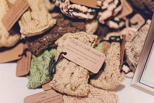 warm favor ideas for winter weddings | handmade drink koozies