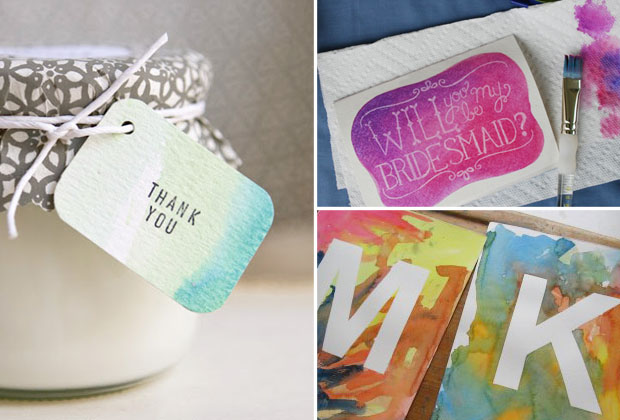 watercolor wedding projects - favor tags, stationery, and tabe signs