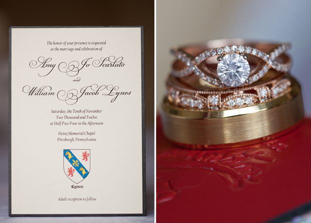Amy and Will's custom clutch pocket wedding invitation and wedding rings