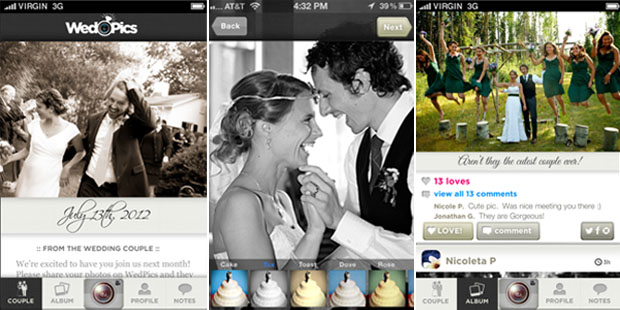 wedpics - wedding album app for iphone, android, and web