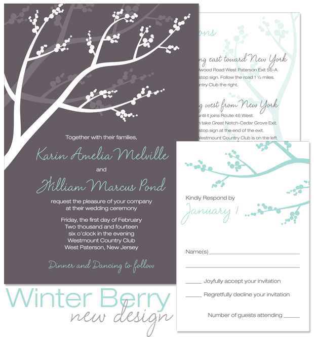 Winter Berry Invitation, Reply and Accessory