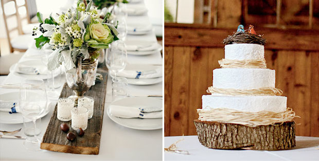 rustic wedding style | wood accents, rustic table setting