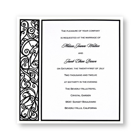 Graceful Black & White Wedding Invitations SAMPLE
