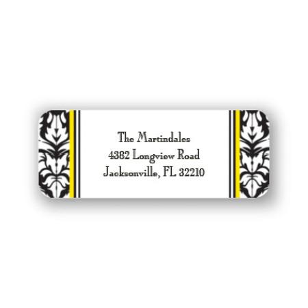 Black Damask Address Labels