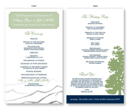 Mountain Wedding Program