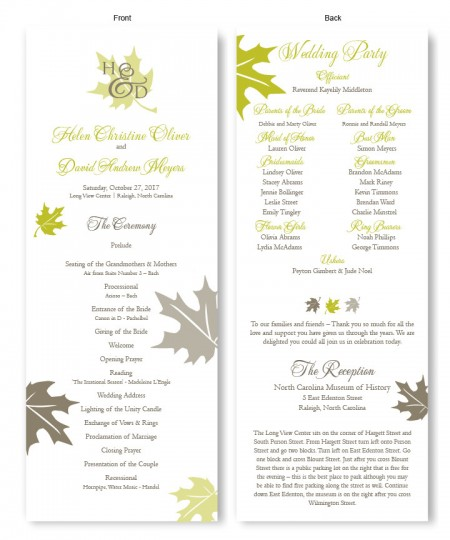 Fall Leaves Wedding Program