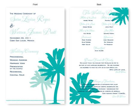 Palm Wedding Program