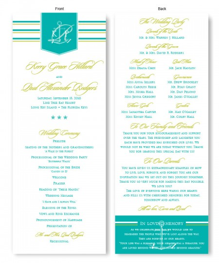 Anchor Wedding Program