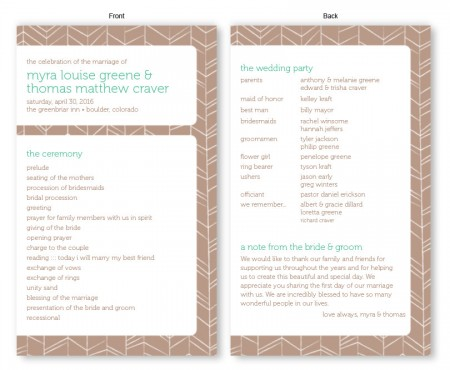 Modern Feather Wedding Program