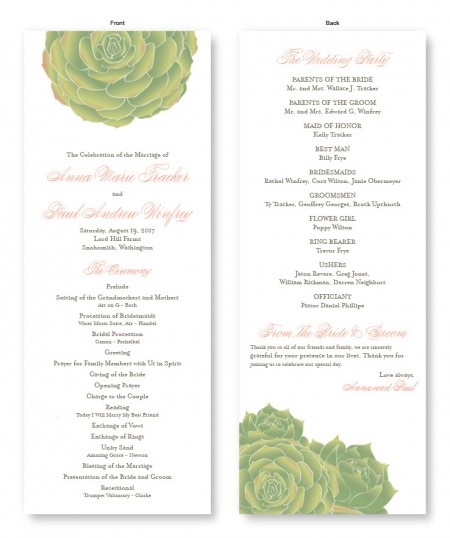 Succulent Wedding Program