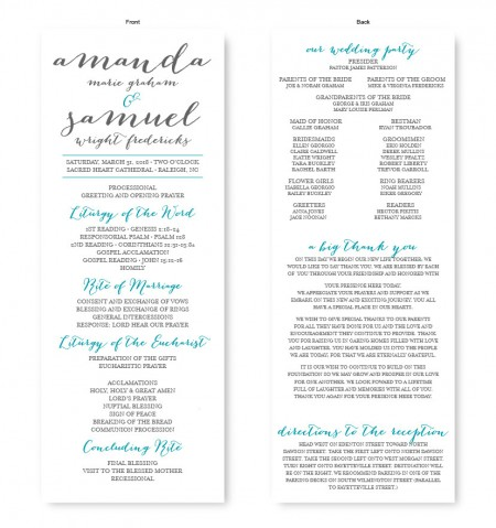 Posh Wedding Program