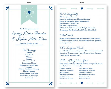 Hearts and Arrows Wedding Program