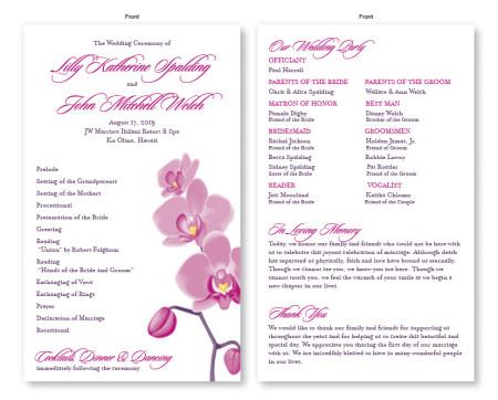 Tropical Orchid Wedding Program