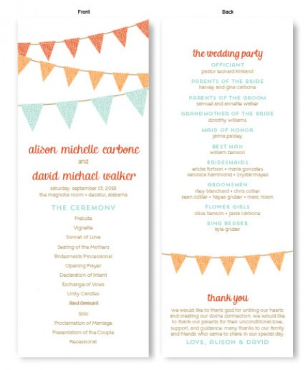 Bunting Wedding Program