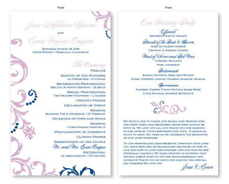 Josie Wedding Program