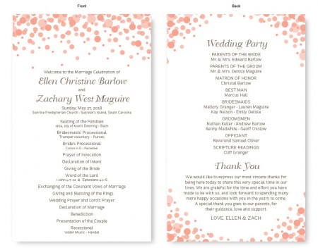 Confetti Wedding Program