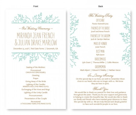 Winter Flora Wedding Program