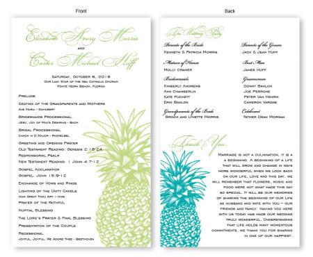 Pineapple Wedding Program