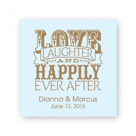 """Love Laughter and Happily 2 1/2"""" Square Sticker"""