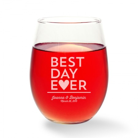 Best Day Ever Stemless Wine Glass