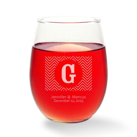 Chevron Stemless Wine Glass