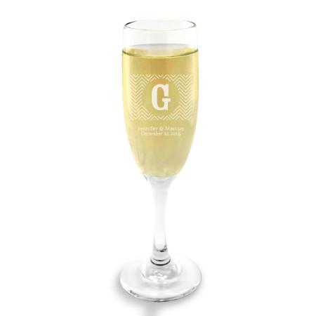 Chevron Champagne Glass