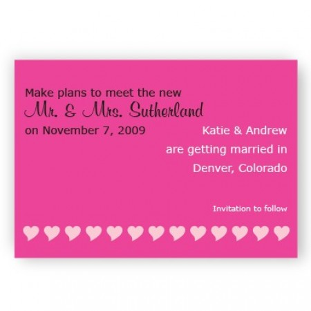 Pink Hearts Save The Date Magnets
