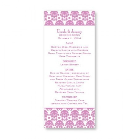 Ornately Yours Menu Cards SAMPLE