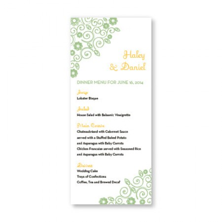 Wedding Bliss Menu Cards SAMPLE