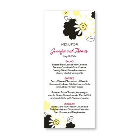 Flowers for the Bride Menu Cards SAMPLE