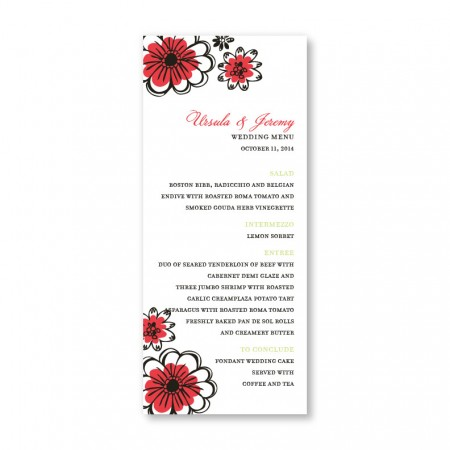 Love in Bloom Menu Cards
