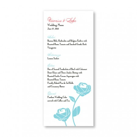 Roses are Forever Menu Cards SAMPLE