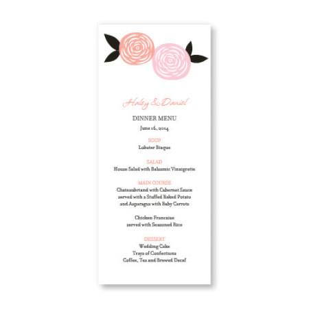 Radiant Roses Menu Cards