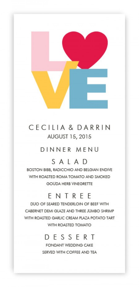 Sophia Menu Cards