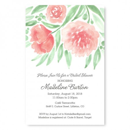 Watercolor Floral Bridal Shower Invitations